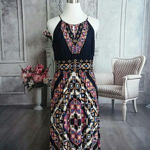 London Times Women's Maxi Dress Blue Plus Size 16